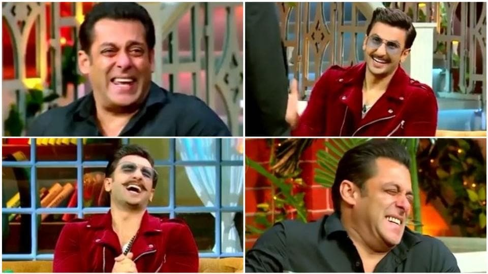 Salman Khan and Ranveer Singh break into a fit of laughter on The Kapil Sharma Show.