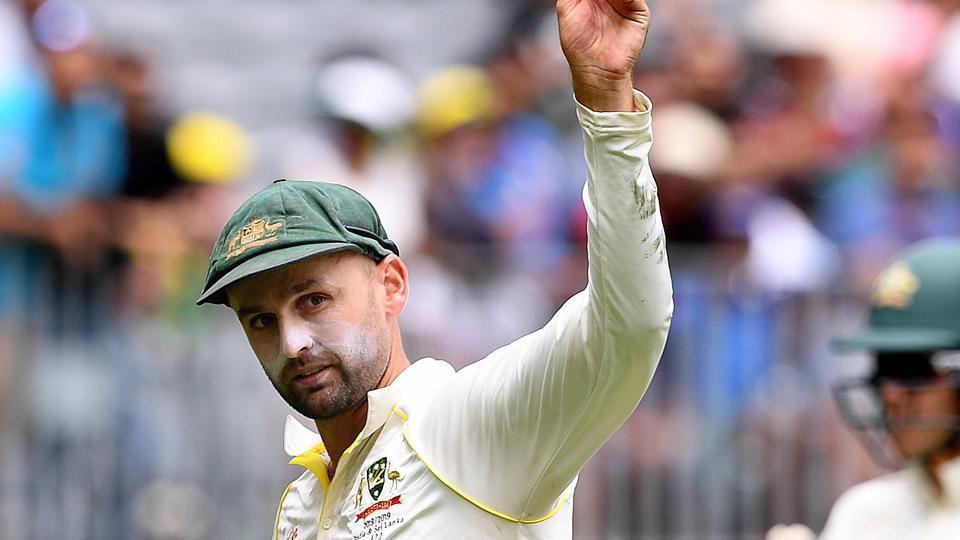 Australia's Nathan Lyon shows the ball after taking 5 wickets, on day three of the second test match between Australia and India at Perth Stadium in Perth, Australia (REUTERS)