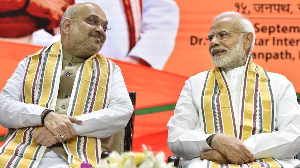 BJP national president Amit Shah with Prime Minister of India Narendra Modi.