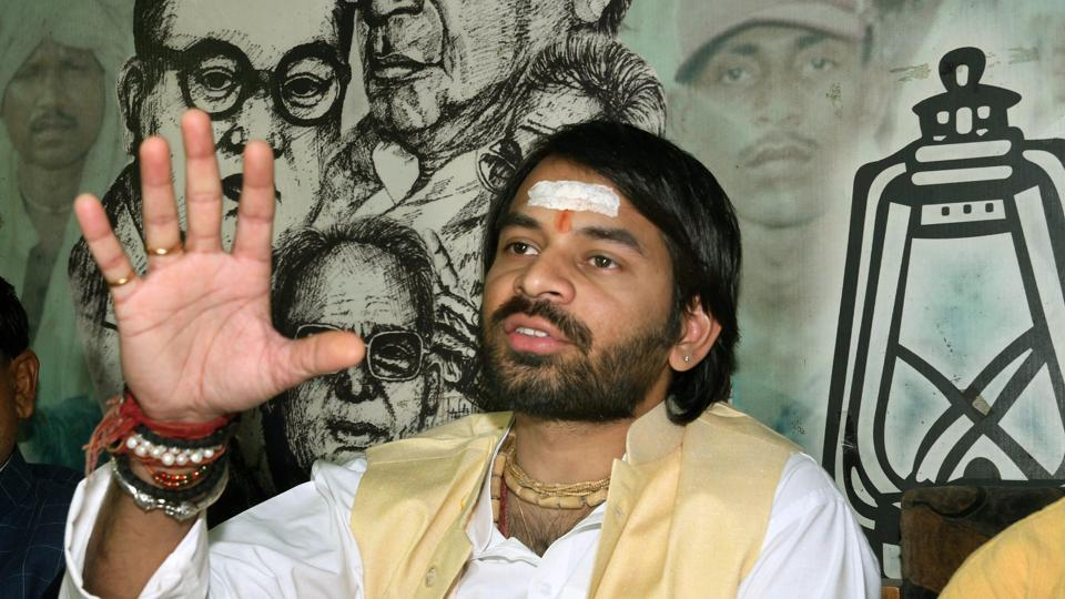 Rashtriya Janata Dal MLA Tej Pratap Yadav addresses a press confrence at party office, in Patna on December 16.