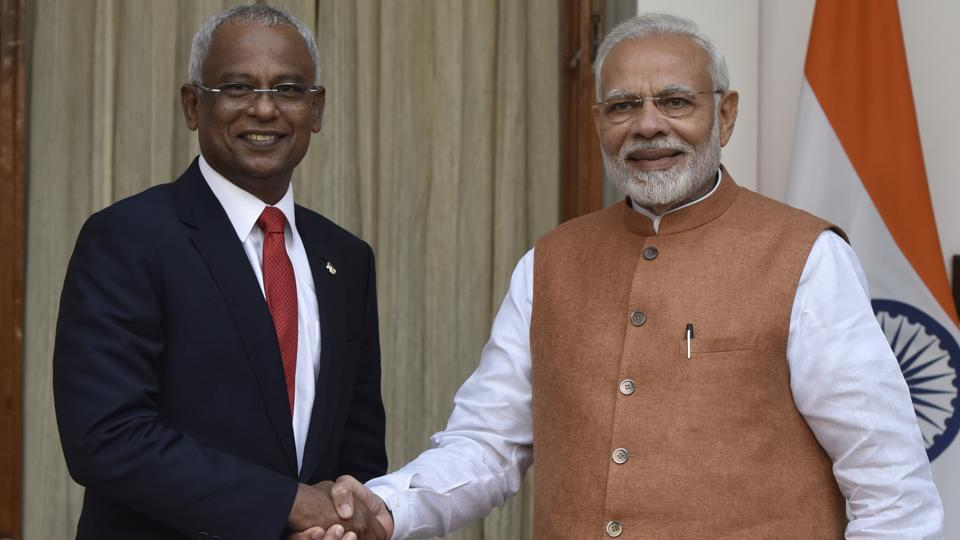 Prime Minister Narendra Modi and Maldivian President Ibrahim Mohamed Solih.