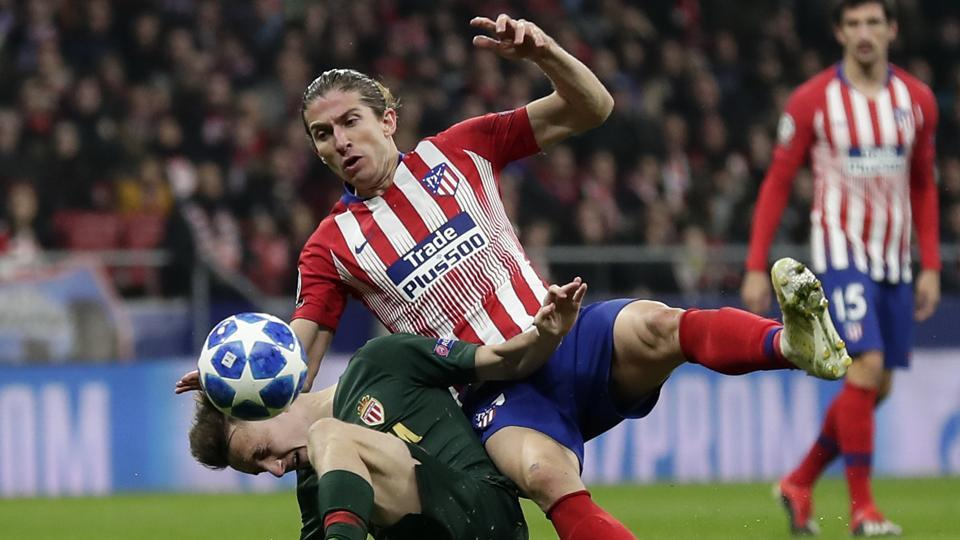 Atletico defender Filipe Luis in action.