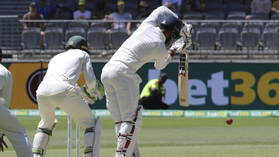 India's Hanuma Vihari bats during play in the second cricket test between Australia and India in Perth. (AP)