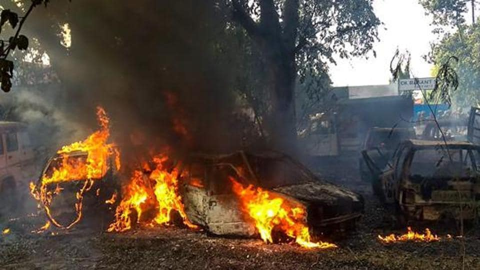 Bulandshahr: Vehicles set on fire by a mob during a protest over the alleged illegal slaughter of cattle, in Bulandshahr, Monday, Dec. 03, 2018. Police on Tuesday said they had arrested three men for the slaughter and two for the violence (File Photo)