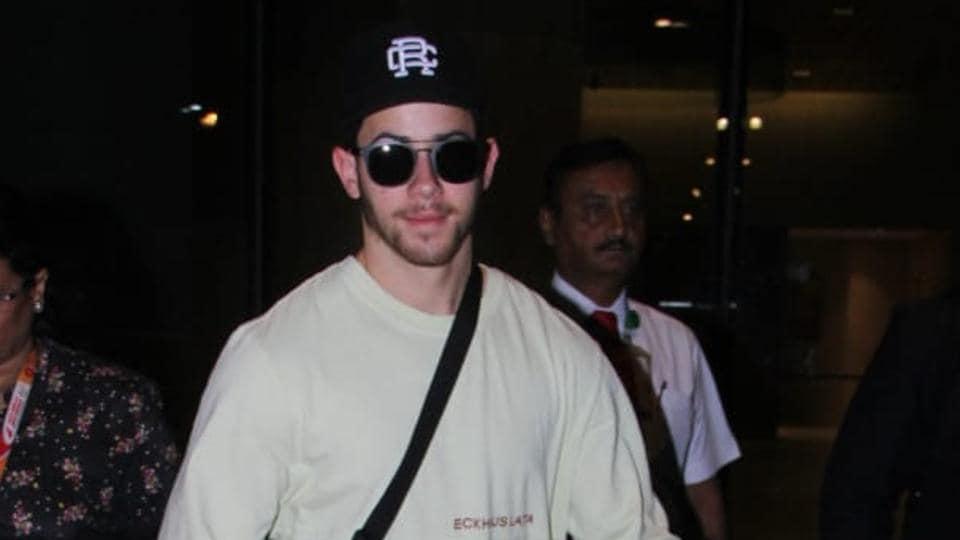Nick Jonas was spotted at the Mumbai airport on Wednesday.