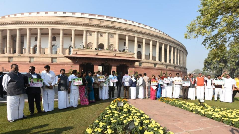 Parliament proceedings began in both houses for the seventh day of the Winter session on Wednesday with Rajya Sabha being adjourned for the day following uproar over Rafale deal and Cauvery issues. Lok Sabha was also adjourned till noon amid protests by AIADMK, Congress and TDP members over various issues. (Sonu Mehta / HT Photo)