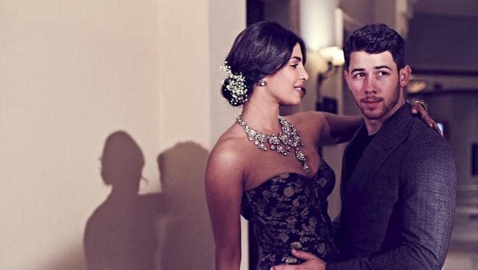 Newlyweds Priyanka Chopra and Nick Jonas at their wedding reception in Mumbai on December 19, 2018.