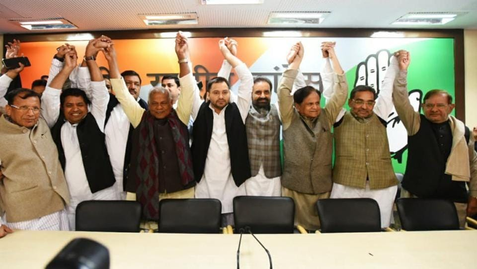 "Days after quitting the NDA over seat allocation for Lok Sabha polls, Upendra Kushwaha-led Rashtriya Lok Samta Party (RLSP) on Thursday joined the grand alliance in Bihar, partnering the Congress, Rashtriya Janata Dal and Hindustan Awam Morcha. The announcement was made at the AICC office in New Delhi. ""We are now part of the UPA. I was humiliated in NDA,"" Kushwaha said. (Amal KS / HT Photo)"