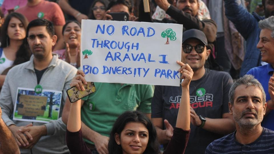 In October, hundreds of people came out to protest against a proposed six-lane expressway which would have cut into a third of the Aravalli Biodiversity Park's 380 acres.