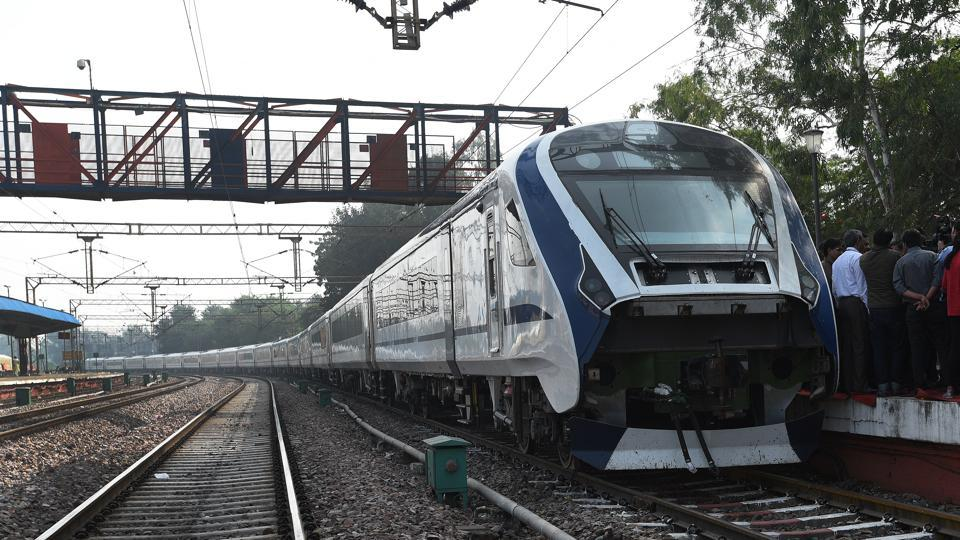 Train 18, the fastest from railways' stable that will replace Shatabdi trains, is likely to be flagged off by Prime Minister Narendra Modi on December 29 from his constituency Varanasi. Manufactured by ICF Chennai at a cost of Rs 100 crore, it recently became India's fastest train by hitting speeds of over 180 kmph during a trial-run on a section of the Delhi-Rajdhani route. (Mohd Zakir / HT File)