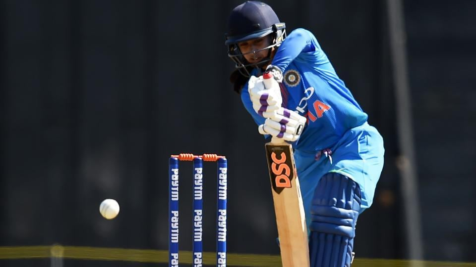 Mithali Raj plays a shot during the first cricket match of the women's Twenty20 Tri-Series cricket match.