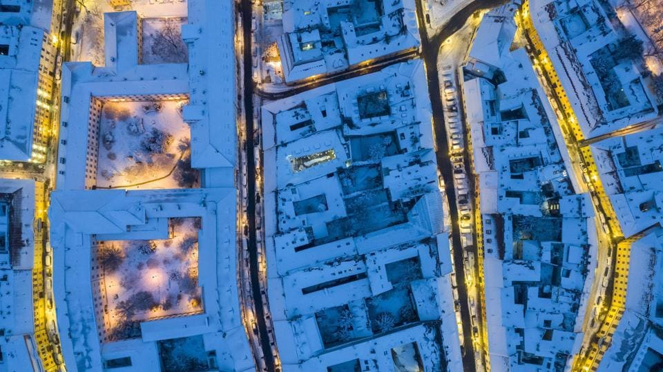 Buildings are snow covered in the Castle District in Budapest, Hungary. (Balazs Mohai / MTI via AP)
