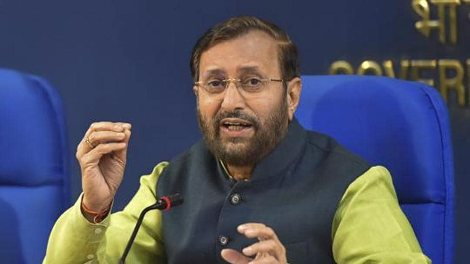 Union HRD minister Prakash Javadekar addresses a press conference on issues relating to school education in New Delhi on Oct 18.