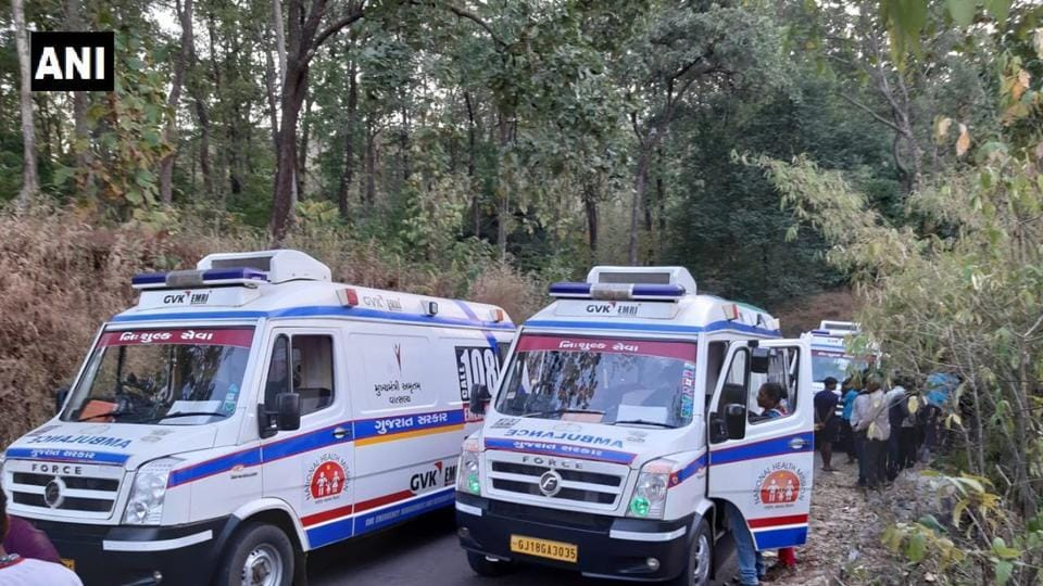 Ambulances at the spot where a bus carrying students for a picnic fell into a gorge near Gujarat's Surat city, leaving at least five dead (ANI)