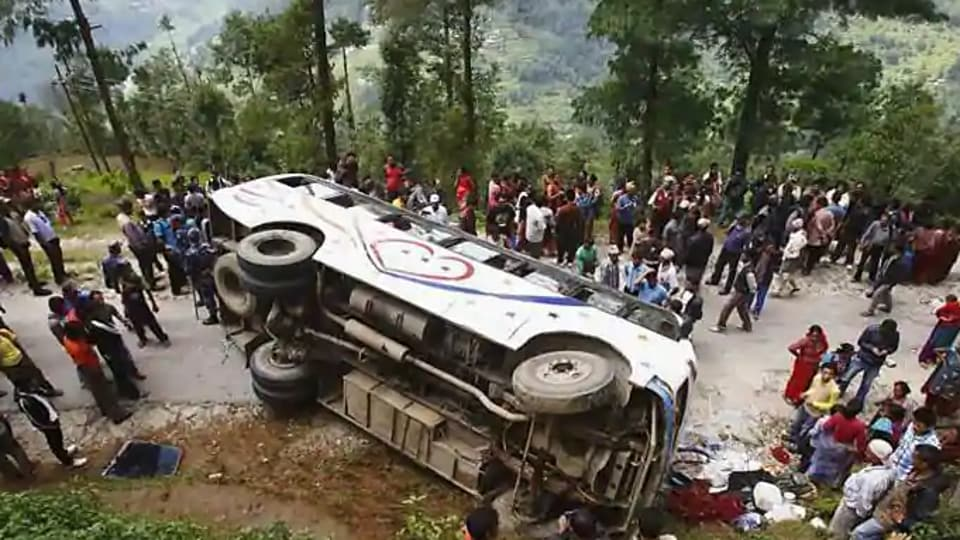 A bus carrying college students and their teachers back from an educational trip veered off a mountainous road and lunged into a ravine in Nepal, killing 23 people and injuring 14 others.