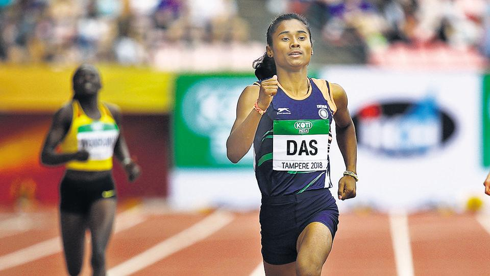 Hima Das of India in action during The IAAF World U20 Championships in 2018.