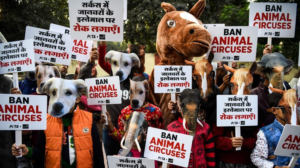 Children and volunteers of the animal rights group PETA wear masks of various animals and hold placards during a protest against the use of animals in circuses, in New Delhi. (Chandan Khanna / AFP)