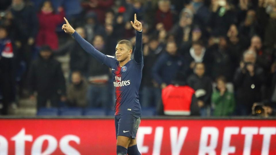 PSG forward Kylian Mbappe reacts after scoring his side first goal against Nantes at the Parc des Princes Stadium in Paris.