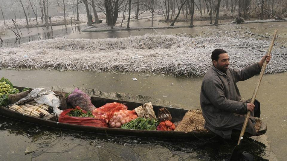 A Kashmiri boatman makes his way through frozen parts in the interiors of Dal Lake.
