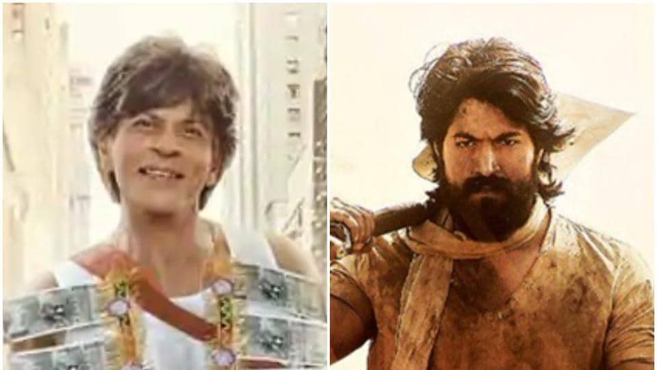 Shah Rukh Khan in a still from Zero and Yash in a still from KGF.