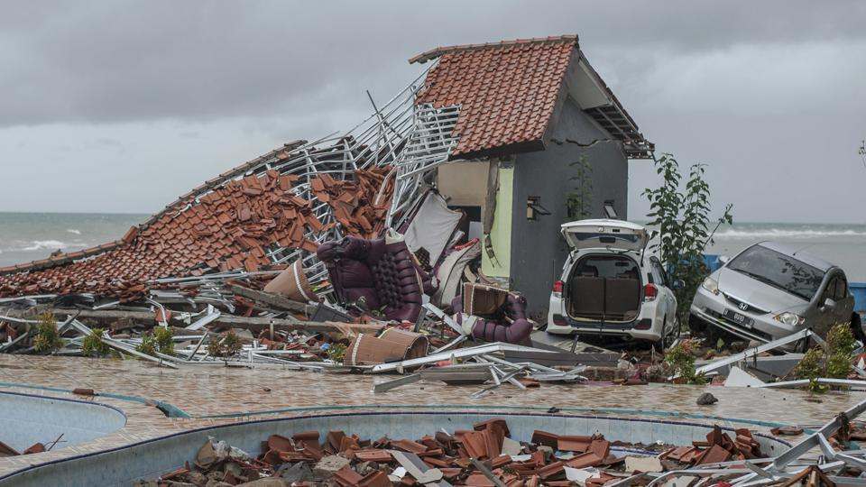 Debris littered a property badly damaged by a tsunami in Carita, Indonesia.