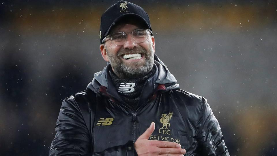 Liverpool manager Juergen Klopp celebrates at the end of the match.