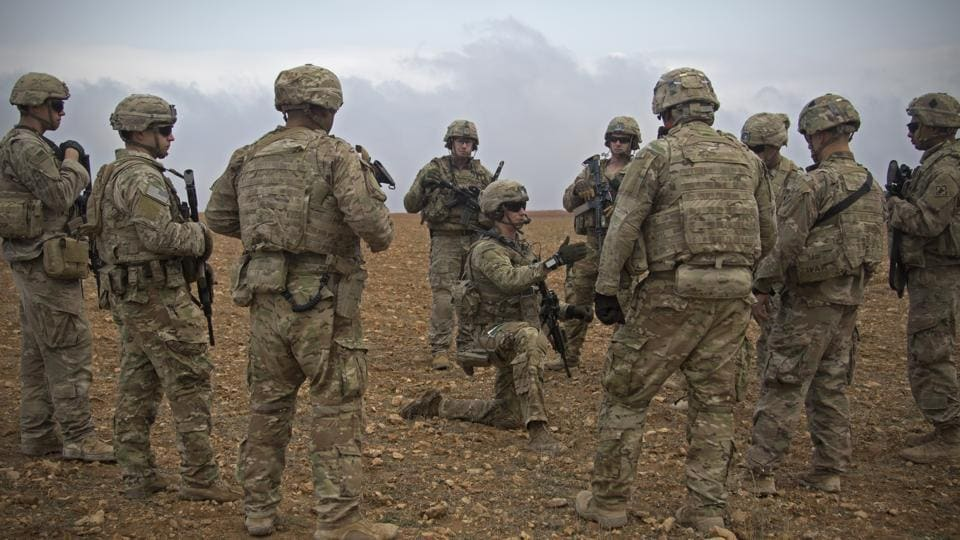 US soldiers during a combined joint patrol rehearsal in Manbij, Syria. The order has been signed for the withdrawal of American troops from Syria, where they have been deployed to assist in the war against the Islamic State jihadist group.
