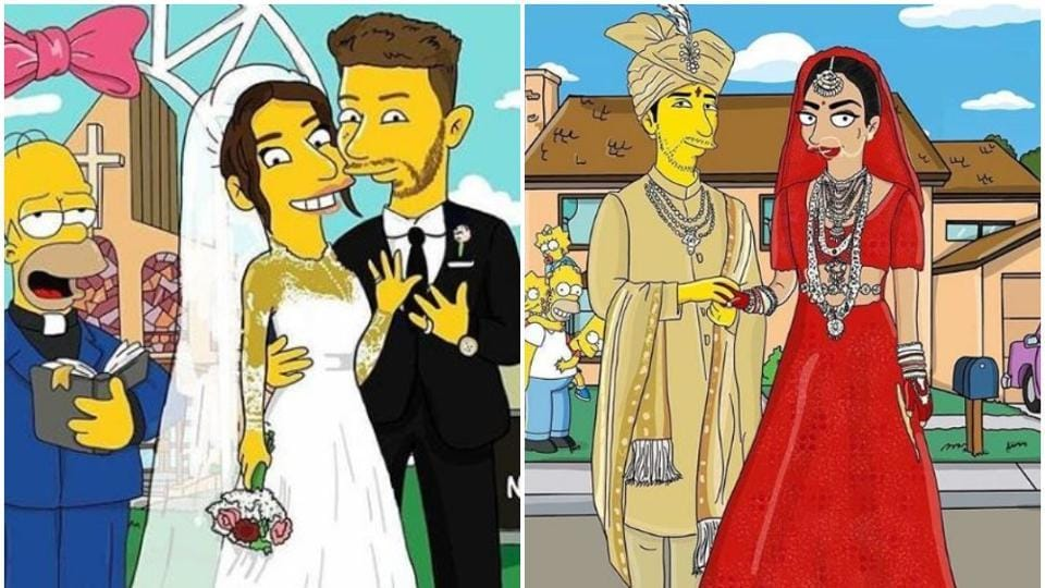 Priyanka Chopra and Nick Jonas in Simpsons' universe.