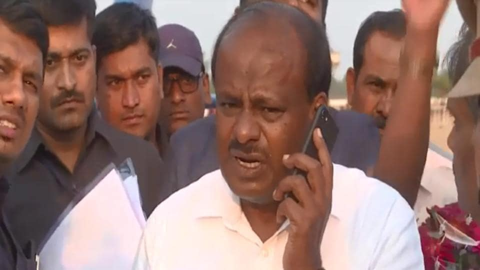 "Karnataka chief minister HD Kumaraswamy has been caught on camera telling someone over the phone to kill the attackers of a local leader of his party ""mercilessly in a shootout""."