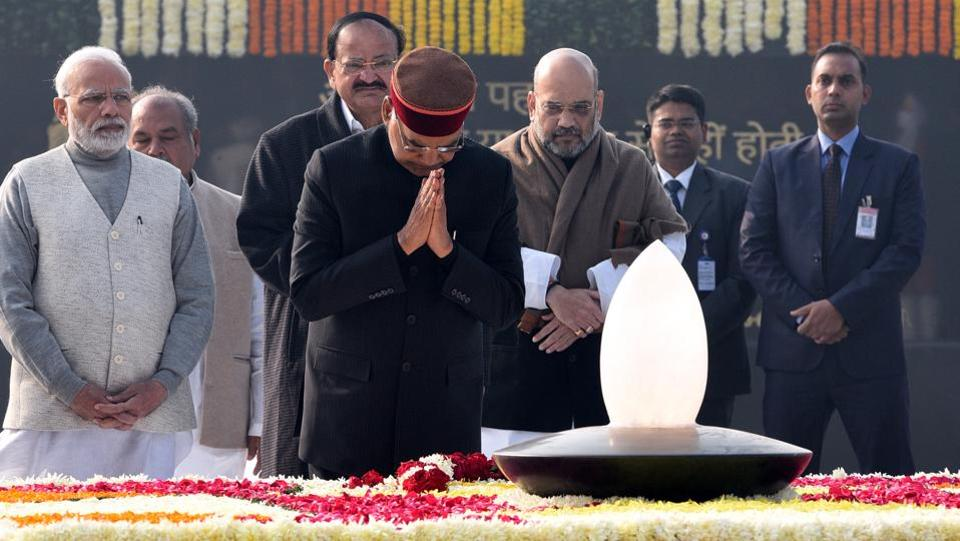 Sadaiv Atal, a memorial of former prime minister Atal Bihari Vajpayee, was dedicated to the nation Tuesday on his 94th birth anniversary. President Ram Nath Kovind, Vice-President M Venkaiah Naidu, BJP national president Amit Shah and Prime Minister Narendra Modi were among dignitaries who paid tributes to the former statesman at the memorial built near the Rashtriya Smriti Sthal. (Sonu Mehta / HT Photo)