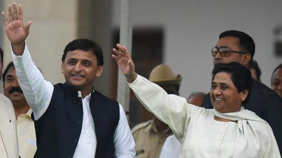 Samajwadi Party leader Akhilesh Yadav with Bahujan Samaj Party chief Mayawati. The two parties are in talks for a tie up for the 2019 Lok Sabha elelctions.