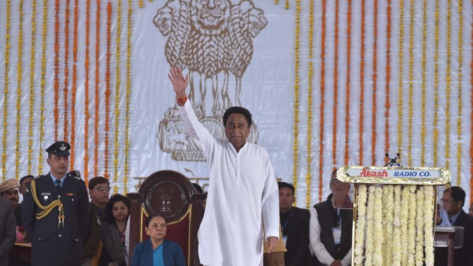 Madhya Pradesh chief minister Kamal Nath inducted 20 ministers into his cabinet on Tuesday. The names of the ministers have been finalised keeping in view regional and caste equations as well as national polls due next year, Congress leaders said. They were cleared after Nath met Congress chief Rahul Gandhi over the weekend. (Mujeeb Faruqui / HT File)