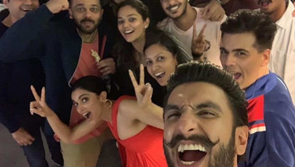 Ranveer Singh, Deepika Padukone, Rohit Shetty and Karan Johar post the Simmba special screening.