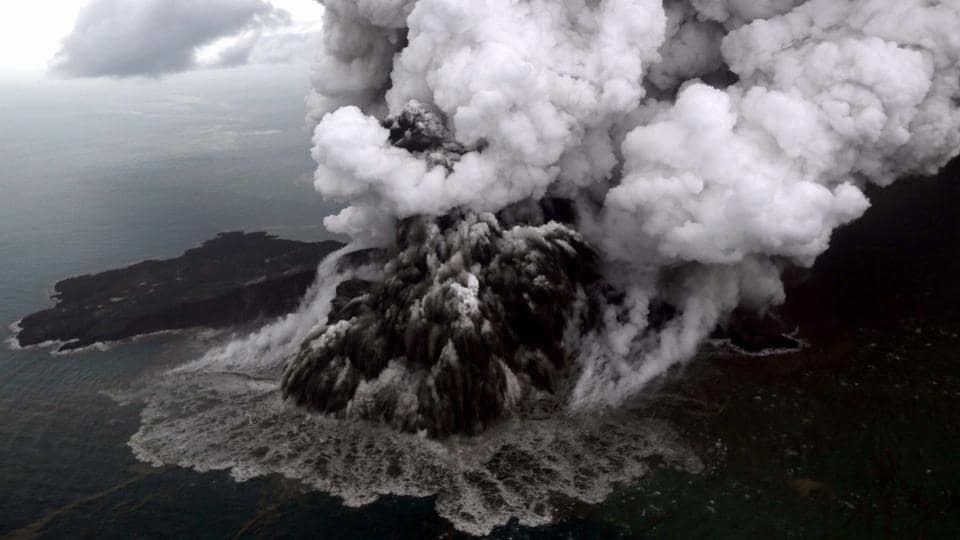 The national disaster agency cautioned residents to stay clear of the coast as activity was still high at the rumbling Anak Krakatoa volcano, which sits in the middle of the Sunda Strait between Java and Sumatra islands. A section of the crater collapsed after an eruption and slid into the ocean, triggering the killer wave. (Nurul Hidayat / Bisnis Indonesia / AFP)