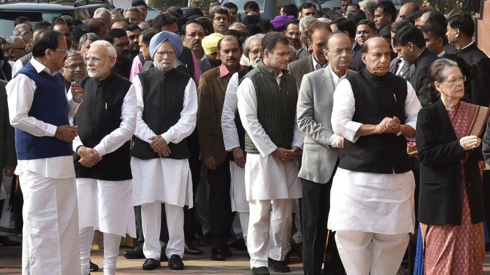 (L-R) Vice President M Venkaiah Naidu, Prime Minister Narendra Modi, former Prime Minister Dr. Manmohan Singh, Congress President Rahul Gandhi, Finance Minister Arun Jaitley, Home Minister Rajnath Singh, UPA Chairperson Sonia Gandhi and others pay homage to security personnel who lost their lives during 2001 Parliament attack on its 17th anniversary, at Parliament House, in New Delhi. (Ajay Aggarwal / HT Photo)