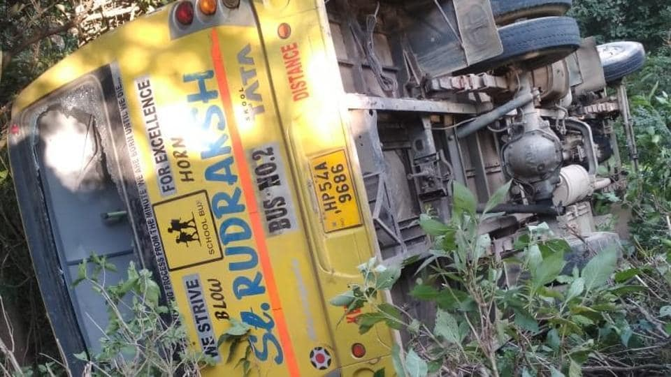 A bus carrying 45 students from a local computer centre in Himachal Pradesh's Kangra district met with an accident near Samleta in Nagrota Suriyan, around 45 kilometres from Dharamsala. At least 35 students are said to have been injured when the private bus ferrying them skidded off the road. (ANI Twitter)