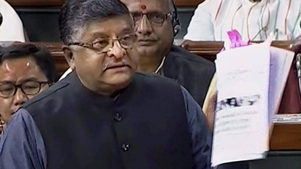 triple talaq bill,Lok Sabha,Ravi Shankar Prasad