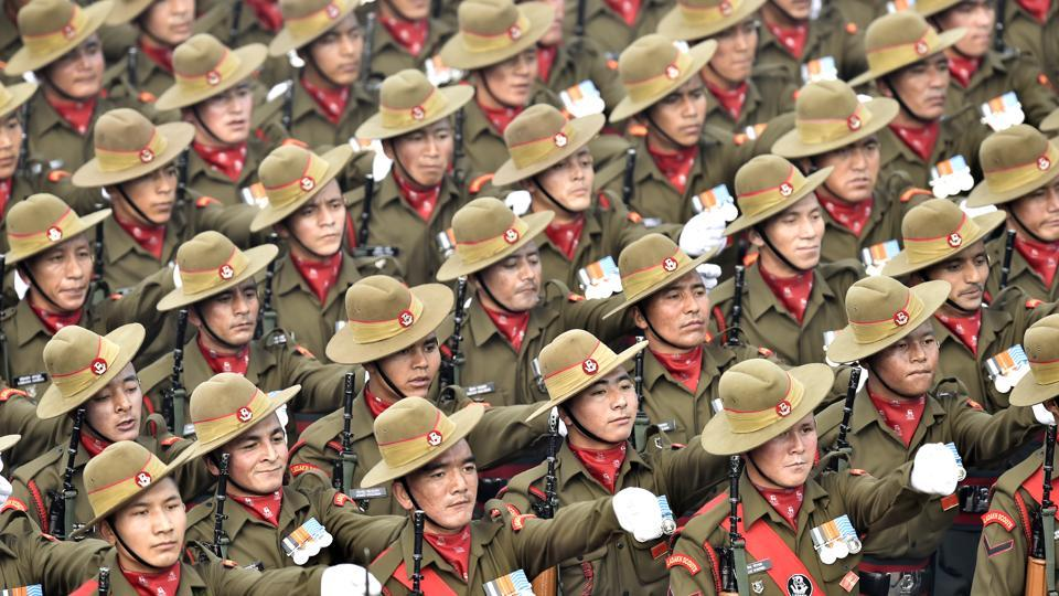 The Ladakh Scouts contingent passes through the saluting base at Rajpath during the Republic Day Parade in New Delhi. (Ajay Aggarwal / HT Photo)