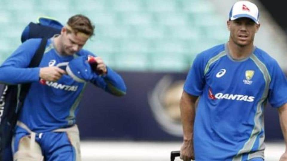 File photo of Australia's David Warner (R) and Steve Smith during nets.