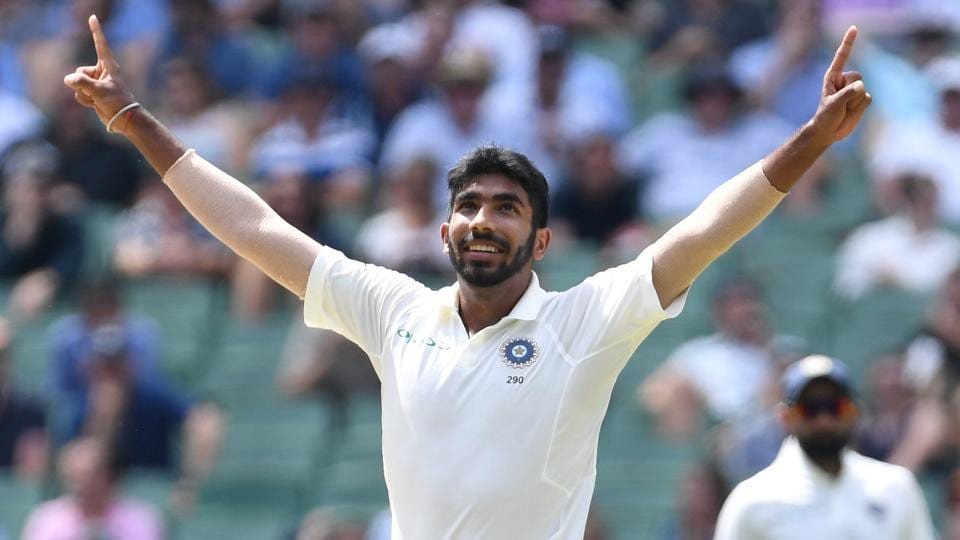 India's Jasprit Bumrah reacts after dismissing Australia's Nathan Lyon on day three of the third test match between Australia and India at the MCG in Melbourne.
