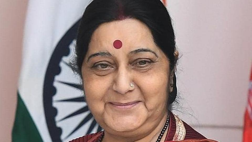 External affairs minister Sushma Swaraj at Hyderabad House in New Delhi on October 24, 2017 .