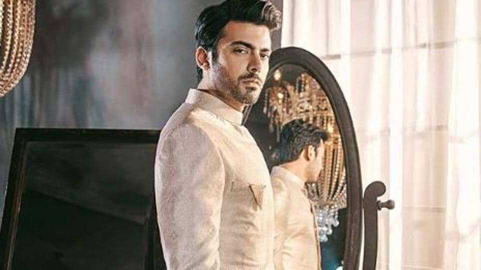Fawad Khan in an ivory kurta with gold zardozi embroidery for SFK Bridals