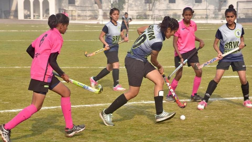 Players in action during 24th CBSE national Hockey Tournament in Ludhiana