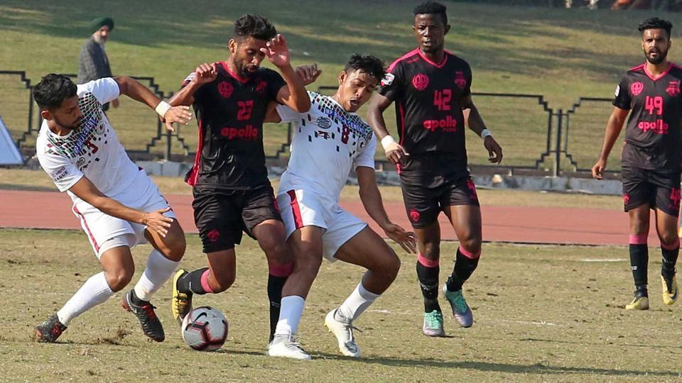 Mohun Bagan (white) and Minerva Punjab FC Hero I-League Football Mach At Tau Devi Lal Stadium Panchkula.