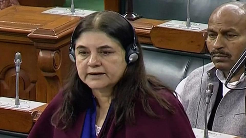 Union Women and Child Development minister Maneka Gandhi speaks in the Lok Sabha during the Winter Session of Parliament, in New Delhi on December  28.
