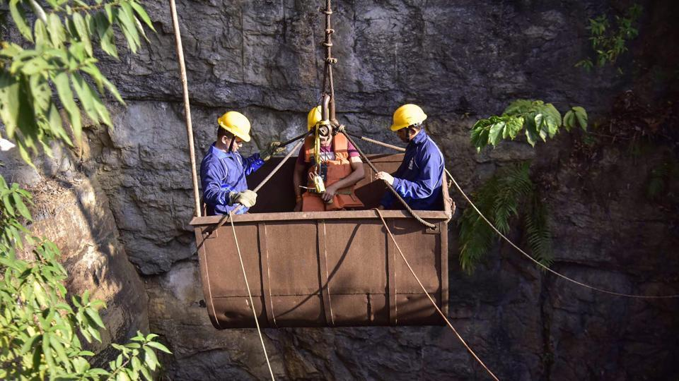 Navy personnel conduct a rescue task at the site of a coal mine collapse at Ksan, in Jaintia Hills district of Meghalaya on December 29.