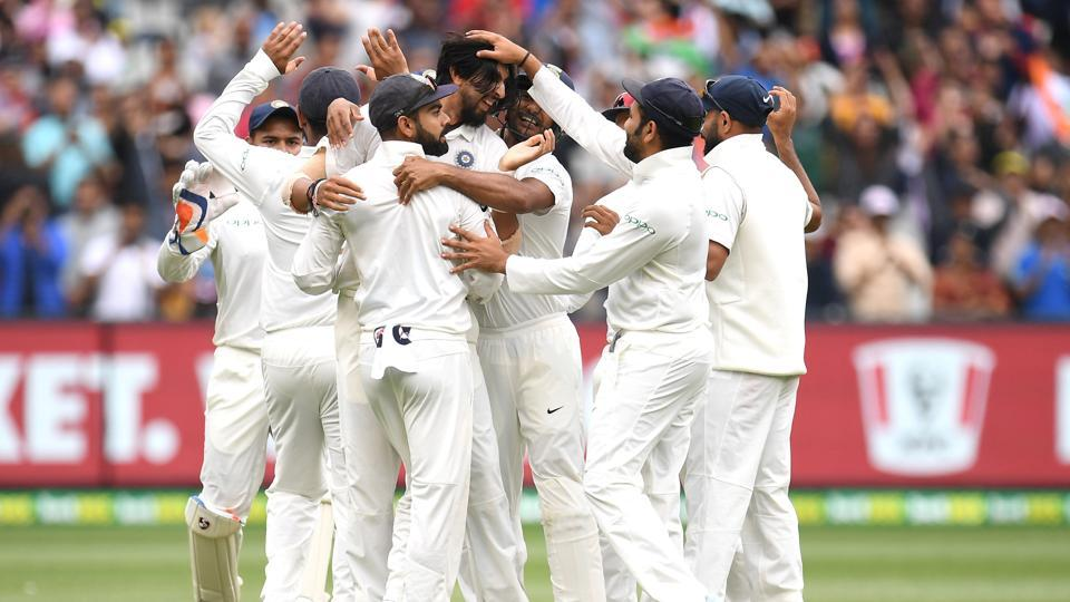 India's players celebrate after winning the third test match between Australia and India at the MCG in Melbourne. (REUTERS)