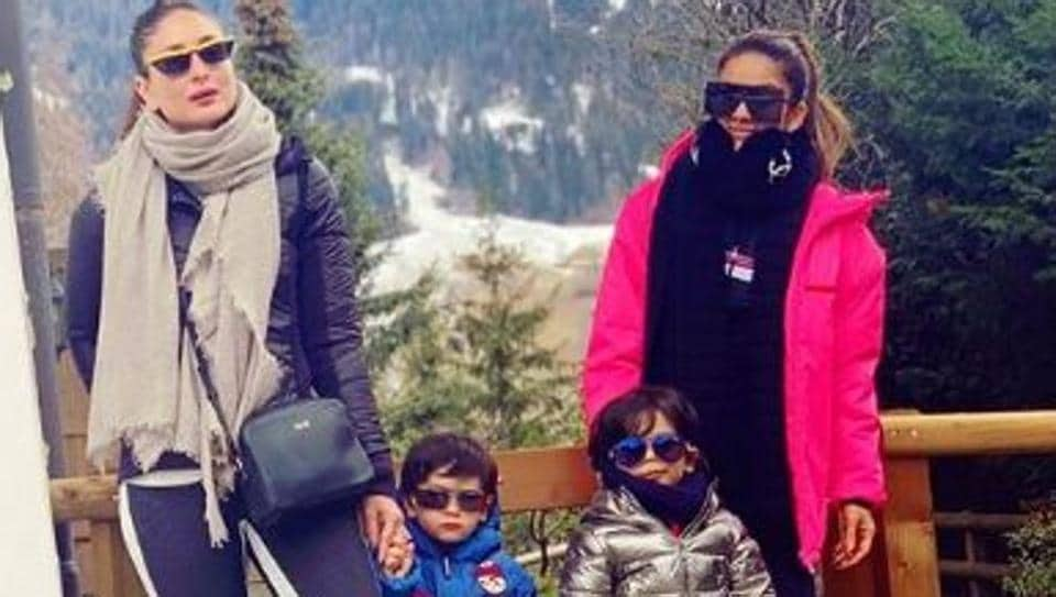 Kareena Kapoor Khan and socialite Natasha Poonawala with their sons, Taimur Ali Khan.