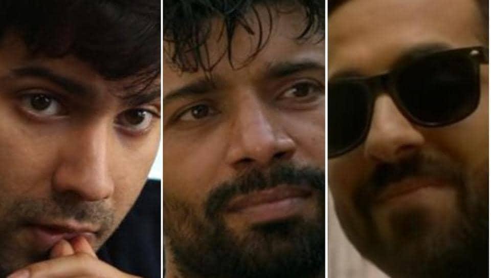 Varun Dhawan, Vineet Kumar Singh and Ayushmann Khurrana in stills from October, Mukkabaaz and AndhaDhun.