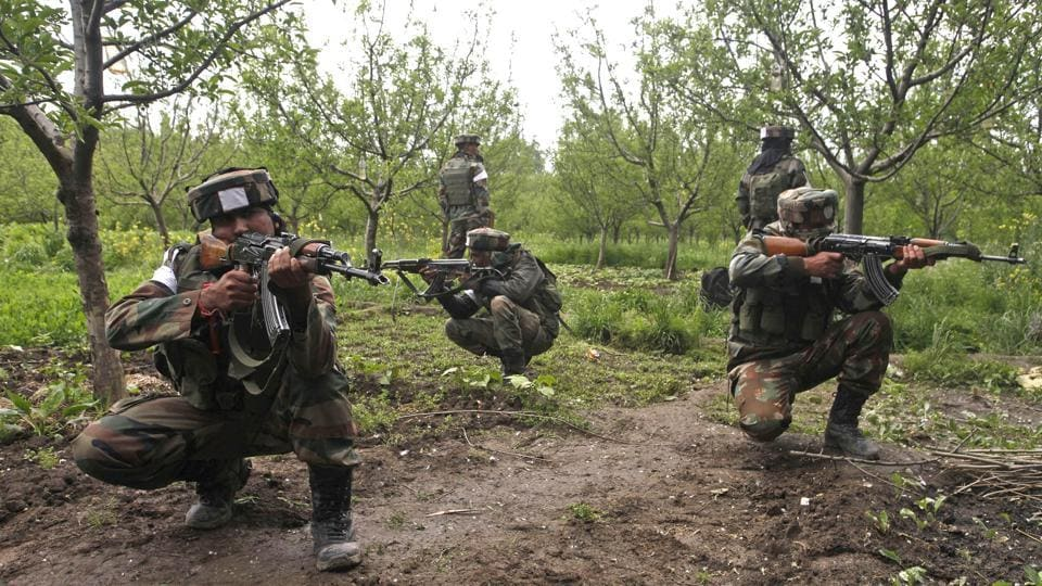 """The Indian Army has claimed to have thwarted a """"treacherous attempt"""" by Pakistan's Border Action Team (BAT) to launch a strike on its post along the Line of Control in Jammu and Kashmir's Naugam sector and killed two intruders in the area. A spokesperson of the army said the recovery of arms and ammunition early on Sunday indicated that they intended to carry out a """"gruesome attack"""" in the region. (Waseem Andrabi / HT Archive)"""